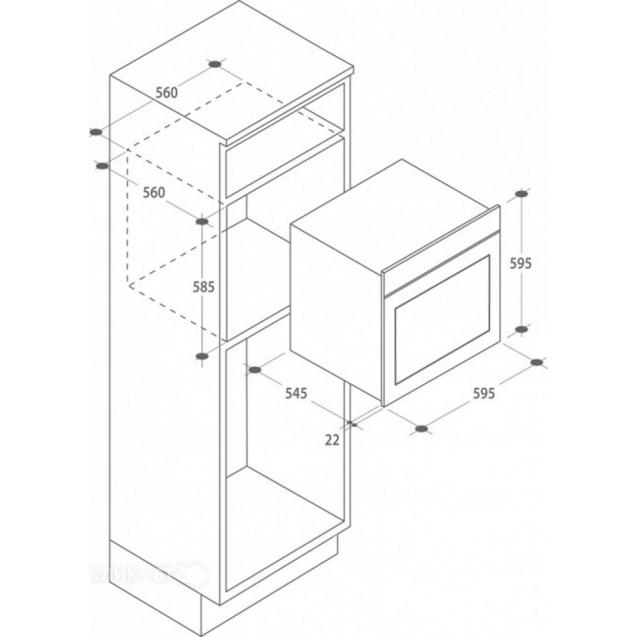 Електрична духова шафа Candy FCL 614/6 GH; Практичні рельєфні напрямні; Емаль легкого очищення; Конвекція; Гриль; Швидка розморожування; Схема вбудовування з розмірами для варильної панелі