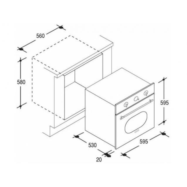 Електрична духова шафа Candy FCL 614/6 BA; Практичні рельєфні напрямні; Емаль легкого очищення; Конвекція; Гриль; Швидка розморожування; Схема вбудовування з розмірами для варильної панелі