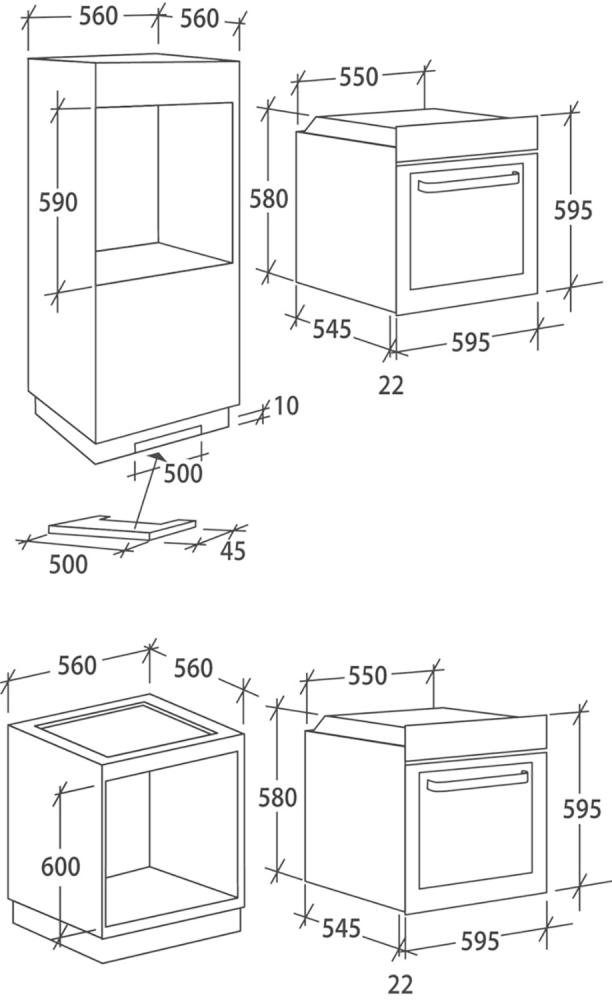 Електрична духова шафа Candy FCP615XL / E1; Утоплювані ручки управління; Режим легкої теплової обробки COOK LIGHT; Гриль; Конвекція; Схема вбудовування з розмірами для варильної панелі