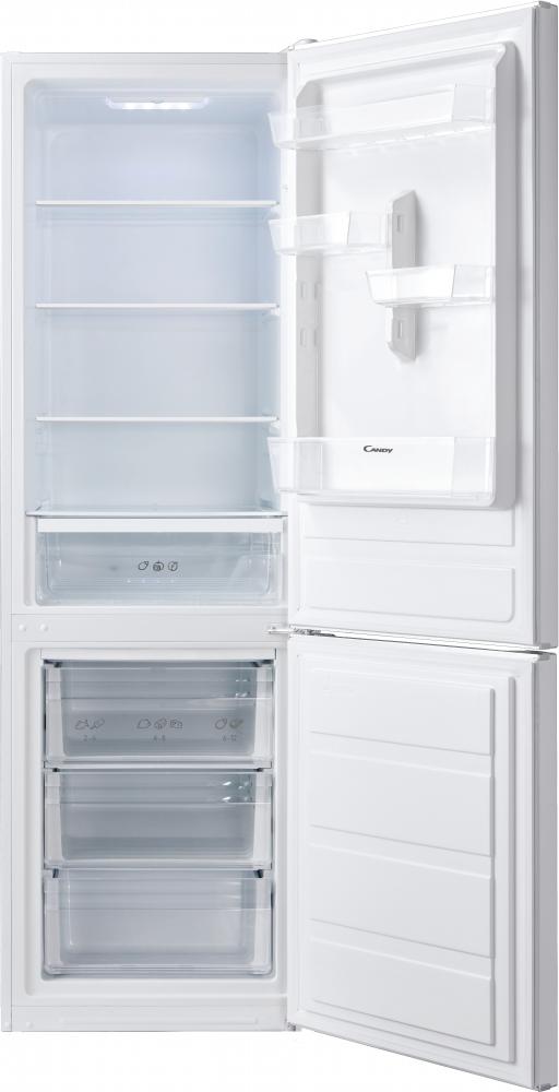 Отдельностоящий холодильник с нижней морозильной камерой Candy CMDS 6182W; LED освещение с электронным управленим; Стеклянные полки более устойчивы и лучше сохраняют свежесть; Перенавешивание дверей