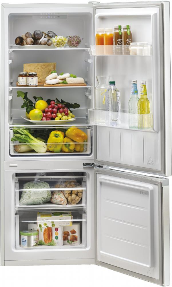 Стоїть окремо холодильник з нижньою морозильною камерою Candy CMCL 5142WN; Скляні полиці більш стійкі і краще зберігають свіжість; Можливість перенавешиванія двері; LED освітлення