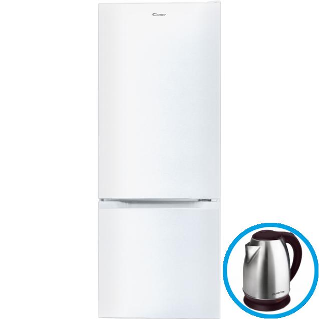Стоїть окремо холодильник з нижньою морозильною камерою Candy CMCL 5142WN; Статична технологія охолодження відмінно підходить для зберігання продуктів; LED освітлення з електронним керуванням