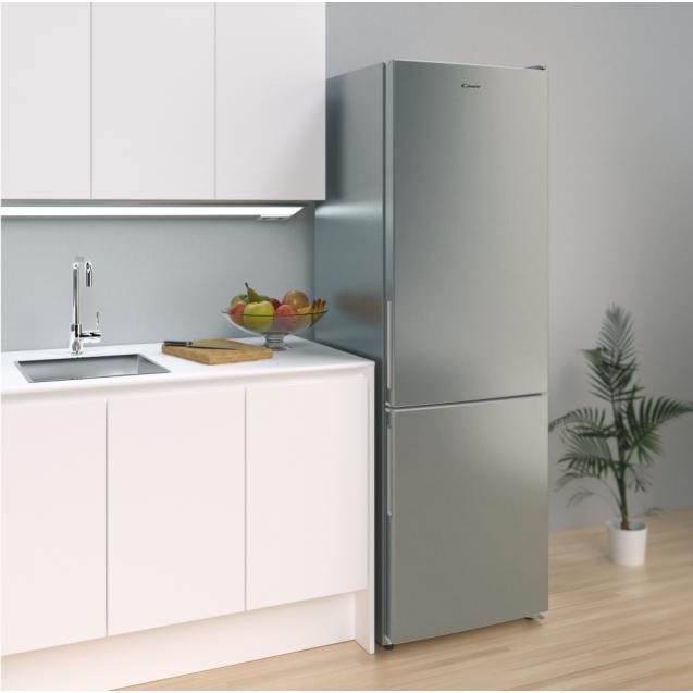 Отдельностоящий холодильник с нижней морозильной камерой Candy CVBNM 6182XP/SN; Система охлаждения - NoFrost не производит инея в морозильной камере; Гармонично вписывается в любой стиль интерьера