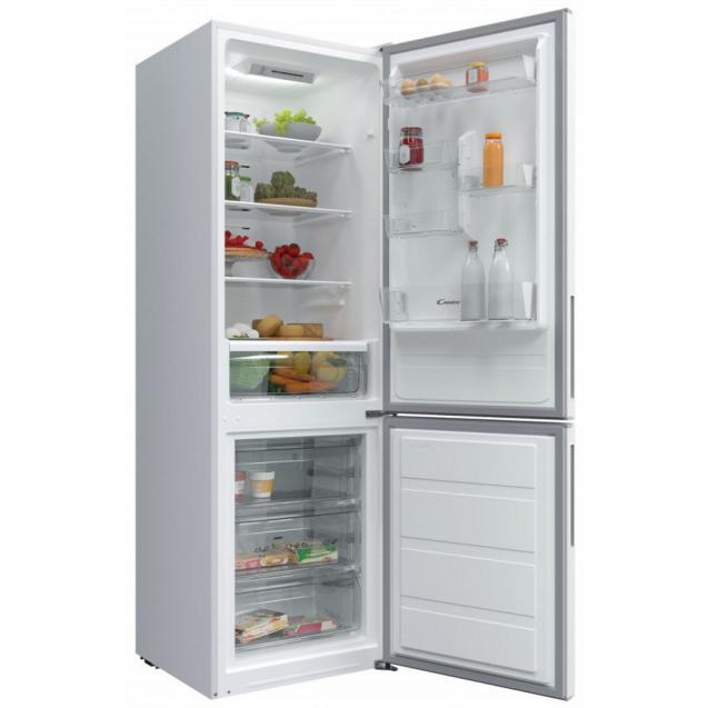 Отдельностоящий холодильник с нижней морозильной камерой Candy CVBNM 6182WP/SN; LED освещение с электронным управленим; Стеклянные полки более устойчивы и лучше сохраняют свежесть; Зона свежести