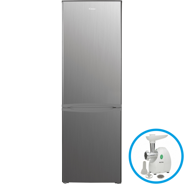 Стоїть окремо холодильник з нижньою морозильною камерою Candy CMDS 6182XN; Статична технологія охолодження відмінно підходить для зберігання продуктів; LED освітлення з електронним керуванням