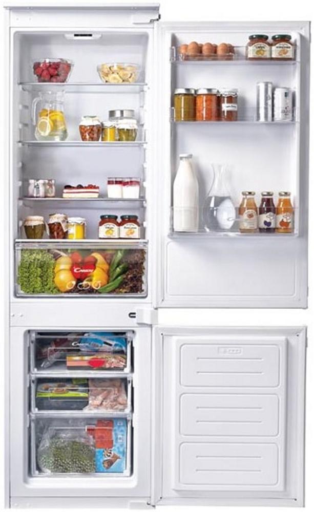 Вбудований холодильник з нижньою морозильною камерою Candy CKBBS 100; Система охолодження - статична; LED освітлення з електронним керуванням; Зона свіжості; Три ящика в морозильній камері