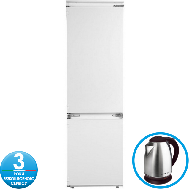 Встраиваемый холодильник с нижней морозильной камерой Candy CKBBS 100; Система охлаждения - статическая; LED освещение с электронным управленим; Зона свежести; Интегрированные ручки в новом стиле