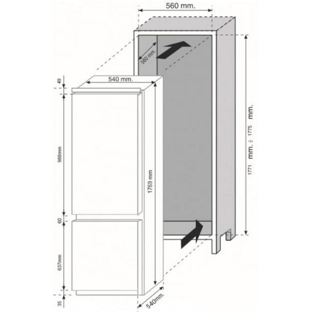 Встраиваемый холодильник с нижней морозильной камерой Candy CKBBS 100; Система охлаждения - статическая; LED освещение с электронным управленим; Зона свежести; Схема встраивания с размерами