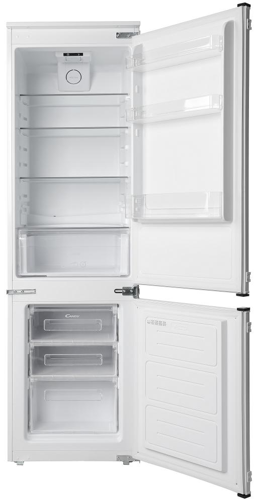 Встраиваемый холодильник с нижней морозильной камерой Candy CKBBS 172 F; Удобная ручка для открытия дверей, большое количество полок для еды, и внутреннее освещение; Зона свежести