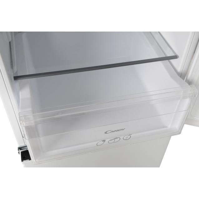 Вбудований холодильник з нижньою морозильною камерою Candy CKBBS 172 F; LED освітлення з електронним керуванням; Металева стійка для пляшок; Ящик з телескопічними направляючими; зона свіжості