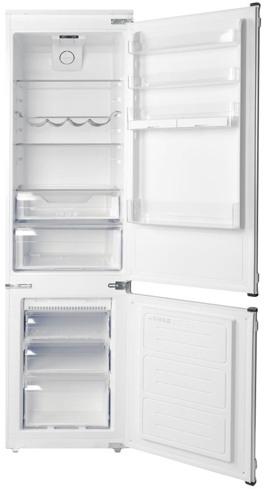 Встраиваемый холодильник с нижней морозильной камерой Candy BCBF 182 N; Комбинированная система охлаждения динамическая/NoFrost; Металлическая стойка для бутылок; Три ящика в морозильном отделении