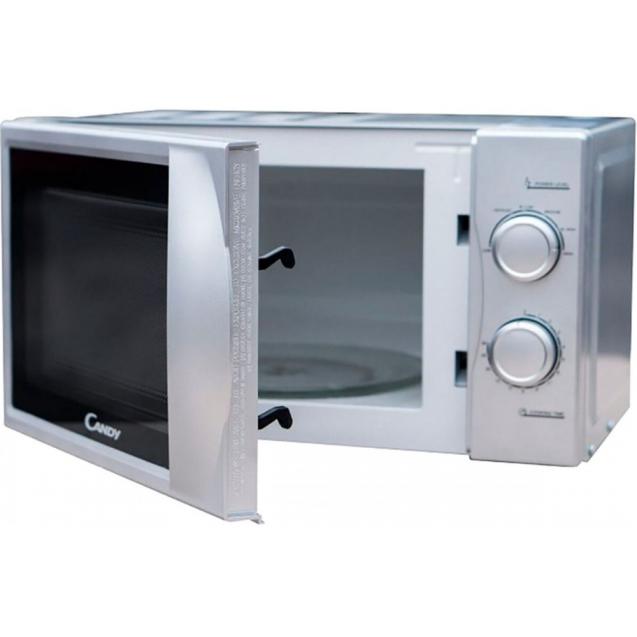 Отдельностоящая мікрохвильова піч Candy CPMW 2070S; Потужність 700Вт; Функція розморожування; 6 рівнів потужності дозволять вибрати потрібний режим приготування; Механічне управління; Обсяг камери 20л