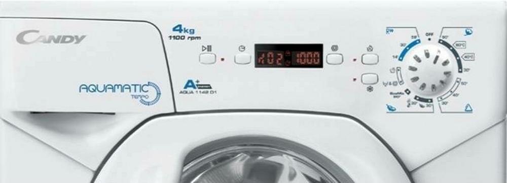 Компактна пральна машина Candy AQUA 1142D1-S; Aquamatic - найменша пральна машина на ринку, максимальне завантаження - 4 кг; зрозуміла і зручна панель управління