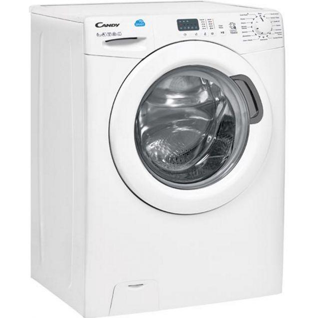 Вузька пральна машина Candy CS34 1051D1 / 2-07; максимальне завантаження - 5 кг, технологія SMART TOUCH, швидкі програми; вид праворуч, ребра жорсткості для поглинання значної частини вібрацій