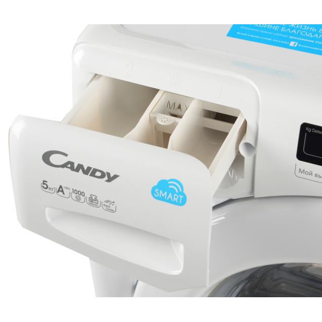 """Вузька пральна машина Candy CS34 1052D1 / 2-07, Максимальна швидкість віджиму - 1100 об / хв; технологія SMART TOUCH; з функцією """"Відкладений старт""""; зручний контейнер для миючих засобів"""