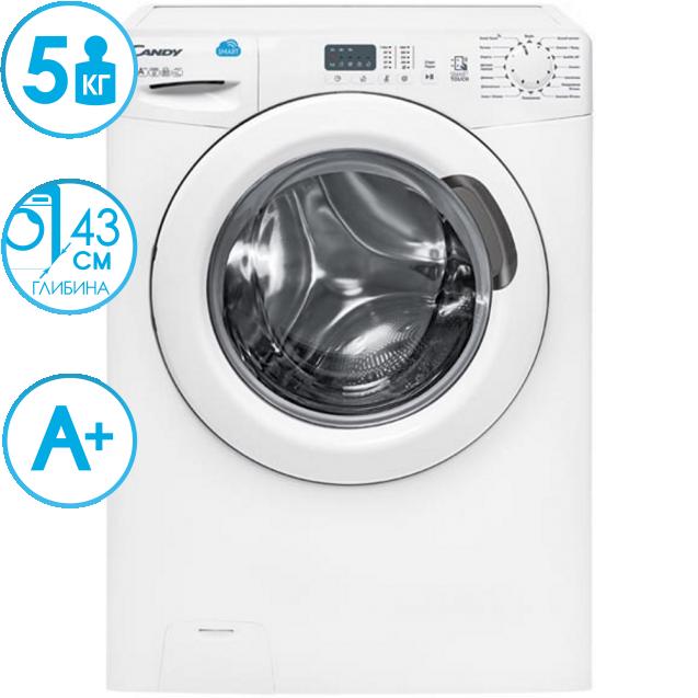 """Вузька пральна машина CS4 1051D1 / 2-07; максимальна швидкість віджиму - 1000 об / хв; максимальне завантаження - 5 кг; технологія SMART TOUCH; технологія - Кг детектор; Функція """"Статистика"""""""
