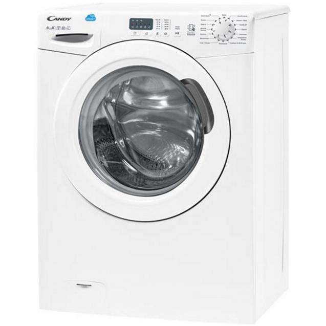 Вузька пральна машина Candy CS4 1061D1 / 2-07; максимальне завантаження - 6 кг, технологія SMART TOUCH; вид зліва, ребра жорсткості для поглинання значної частини вібрацій