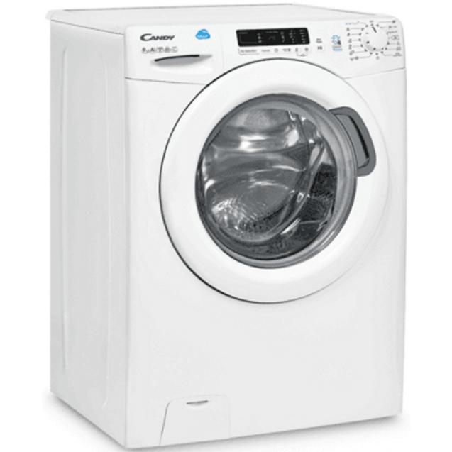 Узкая стиральная машина Candy CS4 1062D1/2-07; максимальная загрузка - 6 кг, технология SMART TOUCH; вид справа, ребра жесткости для поглощения существенной части вибраций