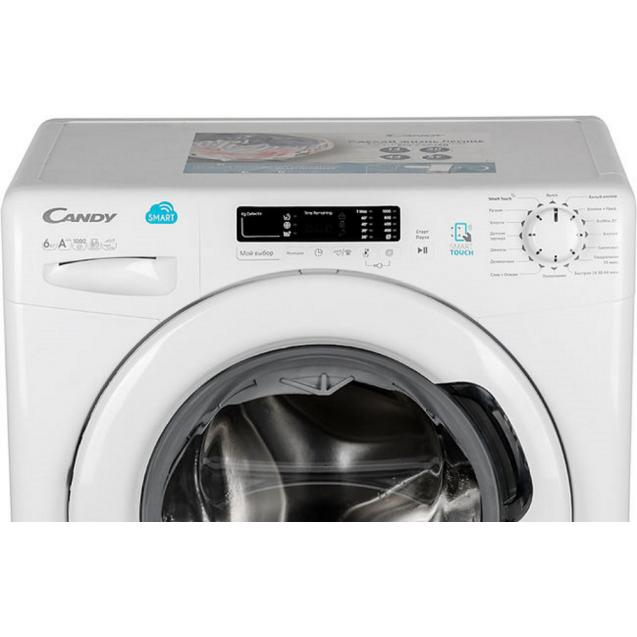 Узкая стиральная машина Candy CS4 1062D1/2-07; максимальная загрузка - 6 кг, технология SMART TOUCH; быстрые программы стирки; понятная и удобная панель управления