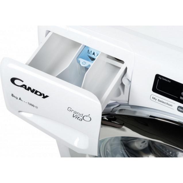 Пральна машина повнорозмірна Candy GVS 138TC3-S, Максимальна швидкість віджиму - 1300 об / хв; максимальне завантаження - 8 кг, технологія SMART TOUCH; зручний контейнер для миючих засобів