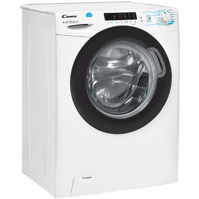 Вузька пральна машина CSS34 1062DB1-07; максимальне завантаження - 6 кг; Технологія SMART TOUCH і Кг детектор; 9 програм швидкого прання; вид праворуч, ребра жорсткості для поглинання вібрацій