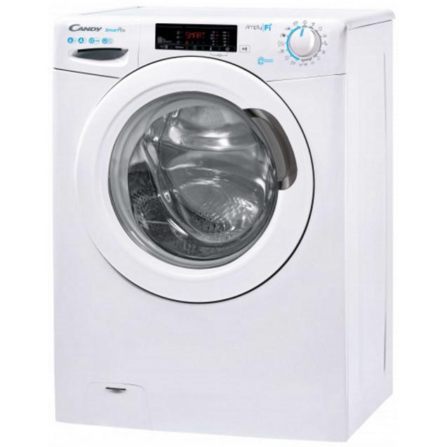 Вузька пральна машина Candy CSO4 1265T3 / 1-S, максимальне завантаження - 6 кг, технологія SIMPLY-FI, функція Відкладений старт; вид зліва, ребра жорсткості для поглинання значної частини вібрацій