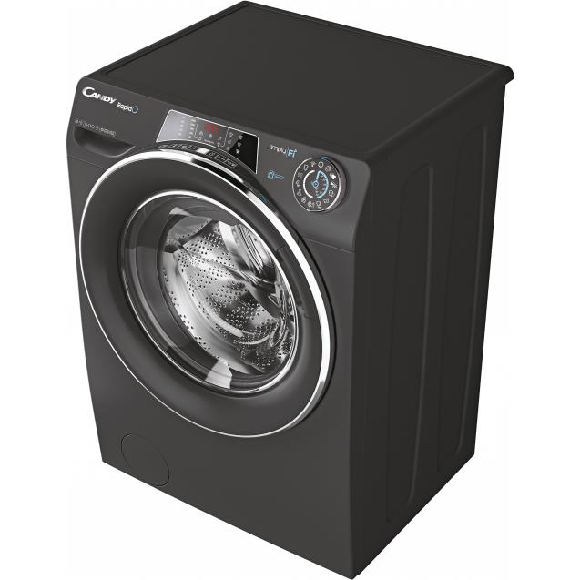 Пральна машина повнорозмірна Candy RO1484DWMCRE / 1-S з інверторним двигуном; з технологією SIMPLY-FI, 9 режимів швидкого прання; вид зліва, ребра жорсткості для поглинання частини вібрації
