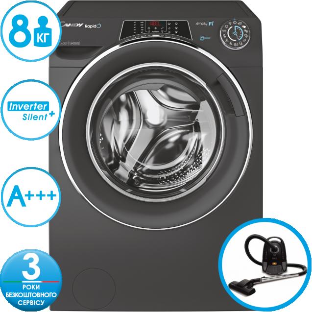 Пральна машина повнорозмірна Candy RO1484DWMCRE / 1-S з інверторним двигуном, Максимальна швидкість віджиму - 1400 об / хв; з технологією SIMPLY-FI, 9 режимів швидкого прання