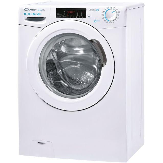 Пральна машина повнорозмірна Candy CSO 1285TE-S; Технологія SMART TOUCH і ACTIVE MOTION; 9 режимів швидкого прання; вид зліва, ребра жорсткості для поглинання частини вібрації