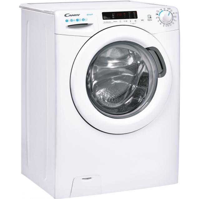 Вузька пральна машина CS4 1072DE / 2-S; максимальне завантаження - 7 кг; Технологія SMART TOUCH; Функція Гігієна +; Кг детектор; Режим EASY IRON; вид праворуч, ребра жорсткості для поглинання вібрацій
