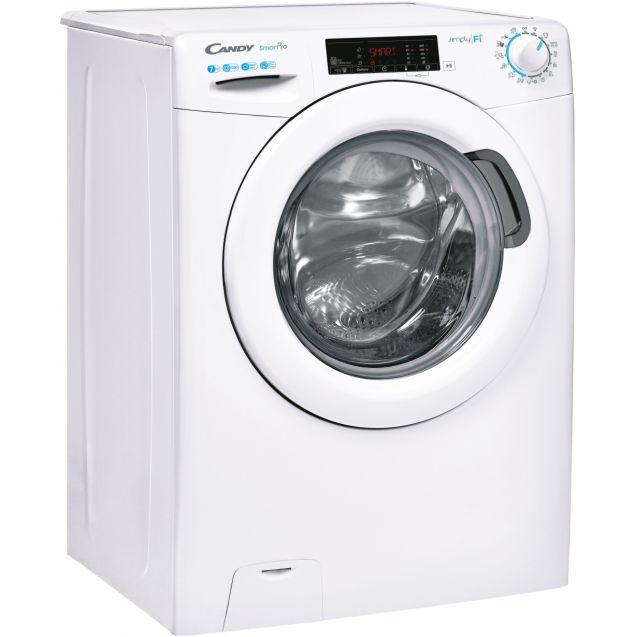 Вузька пральна машина повнорозмірна Candy CSO4 1275TE / 1-S; Технологія SMART TOUCH; 9 режимів швидкого прання; EASY IRON; вид праворуч, ребра жорсткості для поглинання значної частини вібрацій
