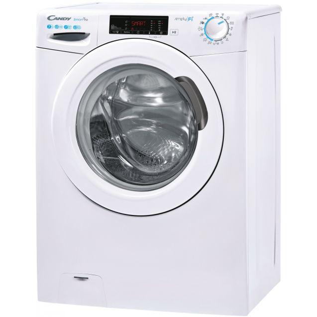 Вузька пральна машина повнорозмірна Candy CSO4 1275TE / 1-S; Технологія SMART TOUCH; 9 режимів швидкого прання; EASY IRON; вид зліва, ребра жорсткості для поглинання значної частини вібрацій