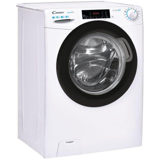 Вузька пральна машина CSO4 1175TBE / 1-S; технологія SMART TOUCH; 9 режимів швидкого прання; технологія ACTIVE MOTION; вид праворуч, ребра жорсткості для поглинання вібрацій