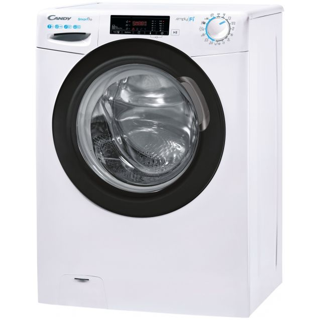 Вузька пральна машина CSO4 1175TBE / 1-S; технологія SMART TOUCH; 9 режимів швидкого прання; технологія ACTIVE MOTION; вид зліва, ребра жорсткості для поглинання вібрацій