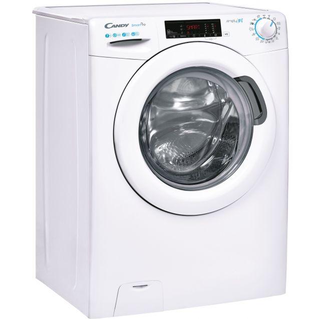 Вузька пральна машина повнорозмірна Candy CSO4 1075TE / 1-S; Технологія SMART TOUCH; 9 режимів швидкого прання; вид праворуч, ребра жорсткості для поглинання значної частини вібрацій