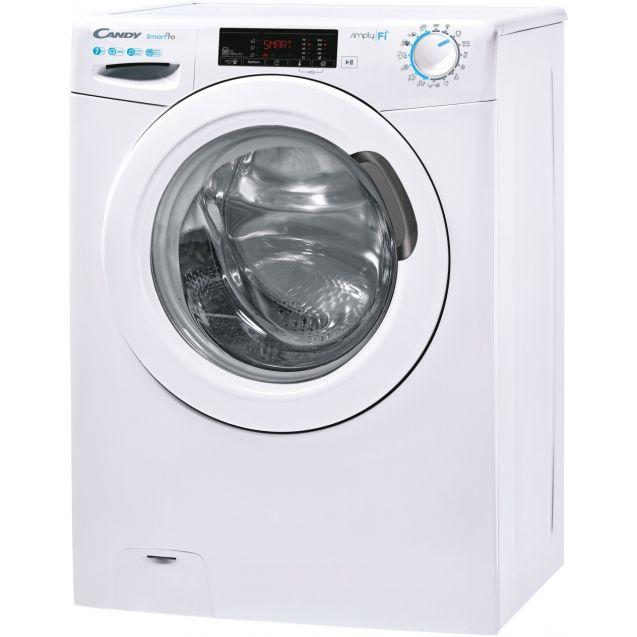 Вузька пральна машина повнорозмірна Candy CSO4 1075TE / 1-S; Технологія SMART TOUCH; 9 режимів швидкого прання; вид зліва, ребра жорсткості для поглинання значної частини вібрацій