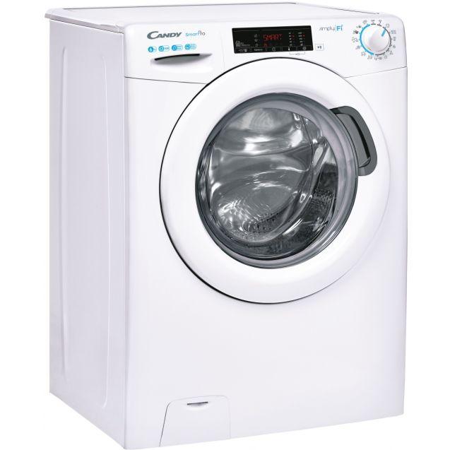 Вузька пральна машина повнорозмірна Candy CSO4 1265TE / 1-S; Технологія SMART TOUCH; 9 режимів швидкого прання; EASY IRON; вид праворуч, ребра жорсткості для поглинання значної частини вібрацій