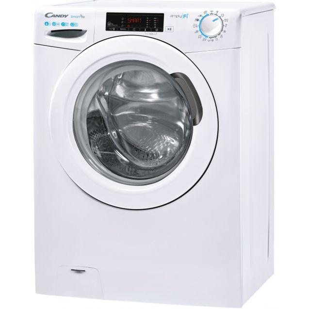 Вузька пральна машина повнорозмірна Candy CSO4 1265TE / 1-S; Технологія SMART TOUCH; 9 режимів швидкого прання; EASY IRON; вид зліва, ребра жорсткості для поглинання значної частини вібрацій