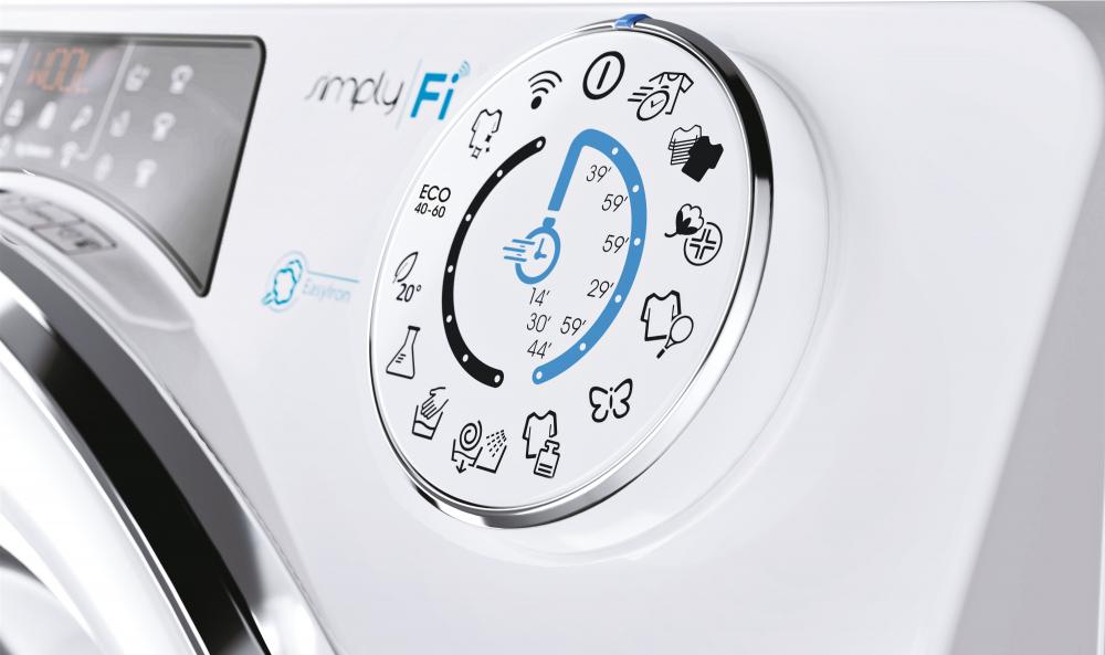 Вузька пральна машина Candy RO41274DWMCE / 1-S, з інверторним двигуном; максимальне завантаження - 7 кг, з технологією SMART TOUCH, функція FUZZY LOGIC; зрозуміла і зручна панель управління