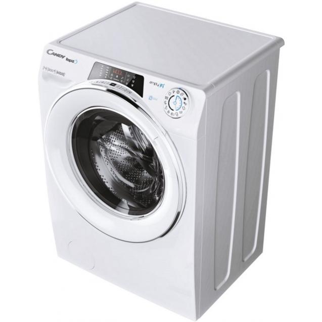 Вузька пральна машина Candy RO41274DWMCE / 1-S, з інверторним двигуном; максимальне завантаження - 7 кг, з технологією SMART TOUCH; вид праворуч, ребра жорсткості для поглинання вібрацій