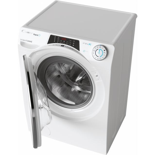 Вузька пральна машина Candy RO41274DWMCE / 1-S, з інверторним двигуном, максимальна швидкість віджиму - 1200 об / хв; максимальне завантаження - 7 кг, з технологією SMART TOUCH, функція FUZZY LOGIC