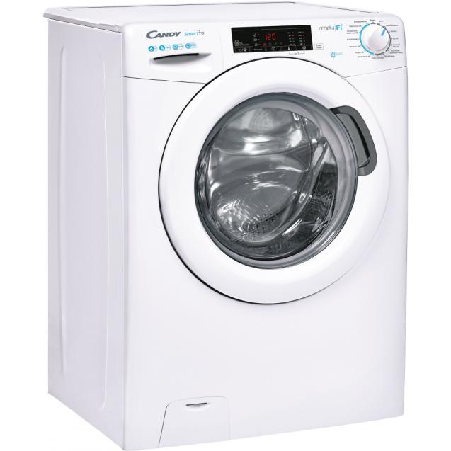 Вузька пральна машина CSO4 116T1 / 2-07; максимальна швидкість віджиму - 1100 об / хв; максимальне завантаження - 6 кг; Технологія SIMPLY-FI; вид праворуч, ребра жорсткості для поглинання вібрацій