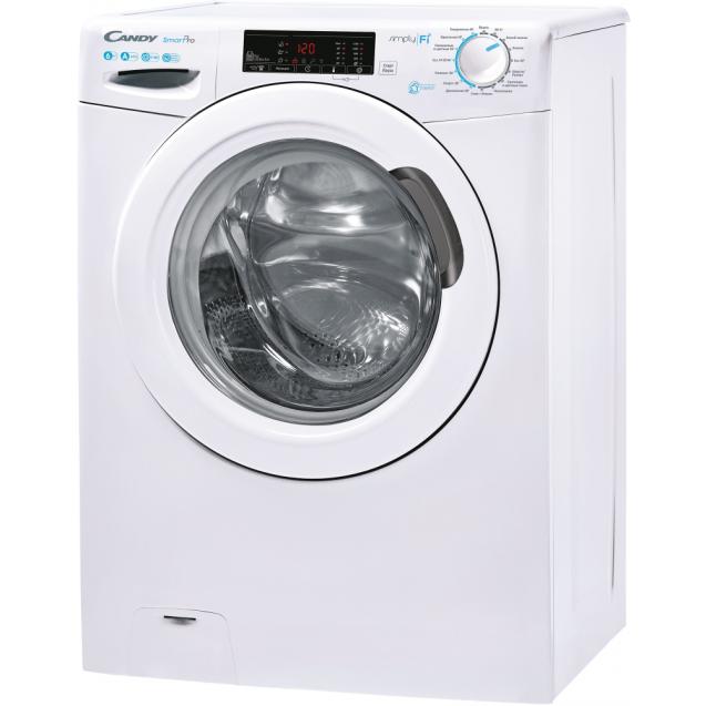 Вузька пральна машина CSO4 116T1 / 2-07; максимальна швидкість віджиму - 1100 об / хв; максимальне завантаження - 6 кг; Технологія SIMPLY-FI; вид зліва, ребра жорсткості для поглинання вібрацій