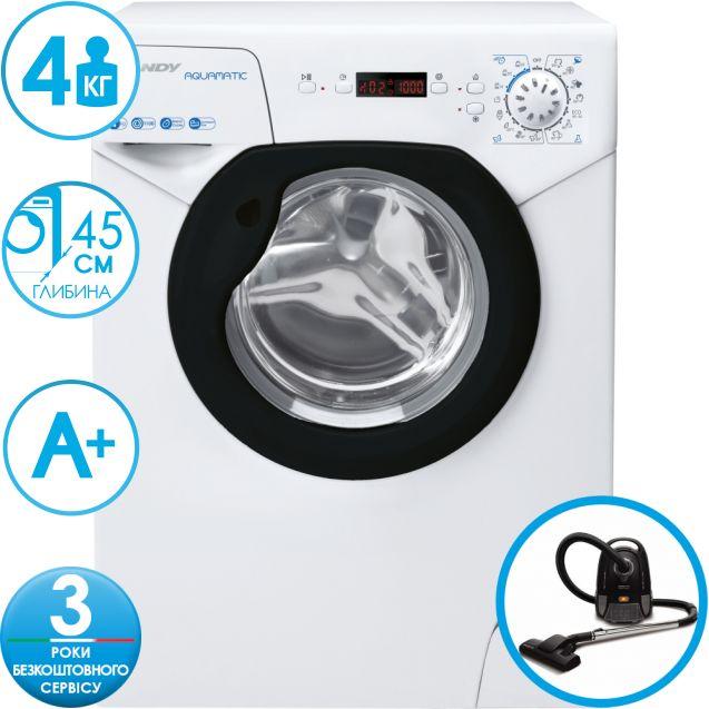 Компактна пральна машина Candy AQUA1142DBE / 2-S; максимальна швидкість віджиму - 1100 об / хв; максимальне завантаження - 4 кг, AQUAMATIC - компактне рішення обмеженого простору; функція FUZZY LOGIC