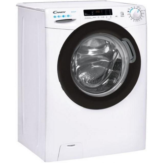 Вузька пральна машина CS4 1262DBE / 1-S; максимальне завантаження - 6 кг; Технологія SMART TOUCH і ACTIVE MOTION; Функція Гігієна + і ECO MIX; вид праворуч, ребра жорсткості для поглинання вібрацій