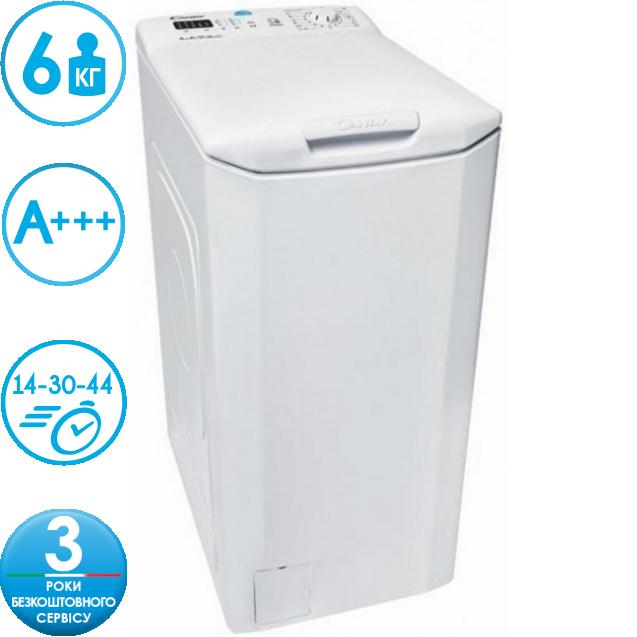 Вузька пральна машина Candy CST 360L-S з вертикальним завантаженням; технологія SMART TOUCH; з додатком simple-fi у вас є доступ до широкого спектру додаткових програм і функцій
