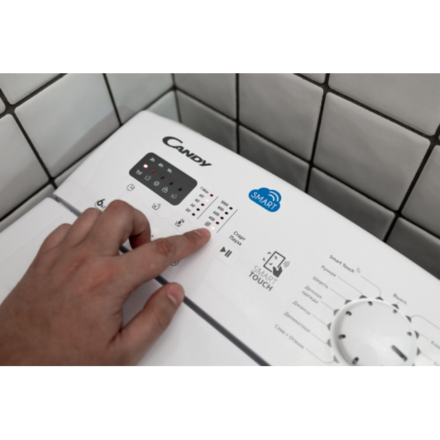 """Вузька пральна машина Candy CSTG 28TE / 1-S; максимальне завантаження - 8 кг; З функцією """"Статистика"""" і Голосовим помічником; Технологія MIX POWER SYSTEM +; зрозуміла і зручна панель управління"""