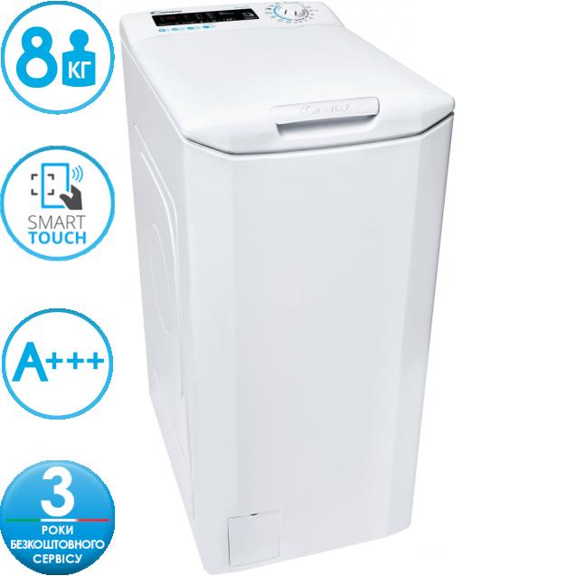 """Вузька пральна машина Candy CSTG 28TE / 1-S; Максимальна швидкість віджиму-1200 об / хв; максимальне завантаження - 8 кг; З функцією """"Статистика"""" і Голосовим помічником; Технологія MIX POWER SYSTEM +"""