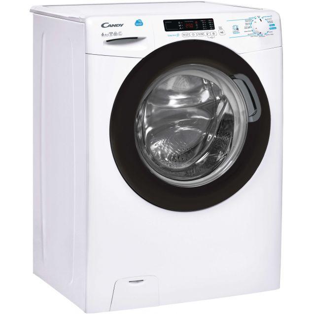 Вузька прально-сушильна машина Candy CSWS43642DB/2-07 з фронтальним завантаженням;Технологія SMART TOUCHI; Функція-Розумні цикли прання; вид праворуч, ребра жорсткості для поглинання частини вібрацій