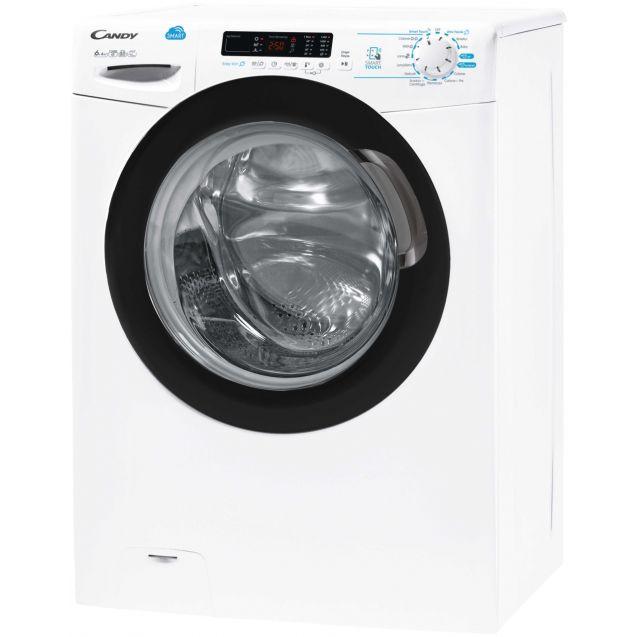 Вузька прально-сушильна машина Candy CSWS43642DB / 2-07 з фронтальним завантаженням; Технологія SMART TOUCHI; Функція-Розумні цикли прання; вид зліва, ребра жорсткості для поглинання частини вібрацій